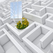 White labyrinth, problem solved, solar panel with grass and flowers in abstract maze — Stock Photo