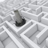 3d labyrinth, global warming, ecology problem — Stock Photo