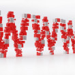 WWW 3D letters made of cubes isolated over white - Stock Photo