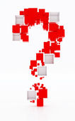Question mark made of red and white cudes. isolated on white — Stock Photo