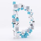 3D letter D build out of cubes — Foto de Stock