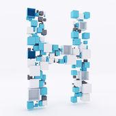 Tworzenie 3d litery h z kostki — Zdjęcie stockowe