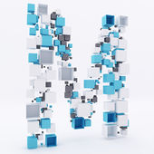 3D letter M build out of cubes — Stock Photo