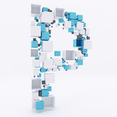 3d буква p строить из кубиков — Стоковое фото