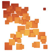 Modèle carré abstrait coloré orange — Photo