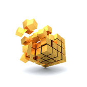 Golden Explosion Cube — Stock Photo