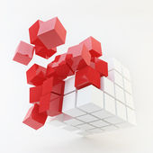 Explosion Cube Red Pattern — Stock Photo
