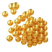 3d Abstract Composition Made Of Golden Perls Isolated Over White, — Stock Photo