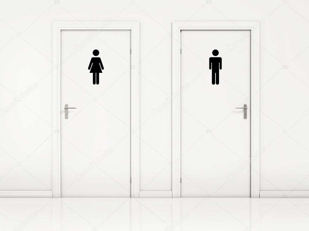 Portas de banheiro feminino e masculino,  parede branca e preta sinal — Foto -> Sinal Banheiro Feminino
