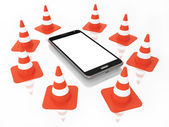 Traffic Cones with Mobile Phone with blank Screen Isolated on the White background — Stock Photo