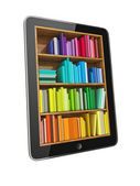 Tablet Computer Bookcase with Multicolor e-books isolated on White Background — Stock Photo
