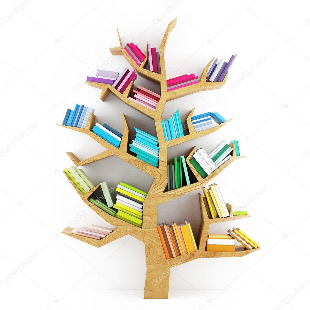 Baixar - Árvore do conhecimento, prateleira de madeira com livros ...