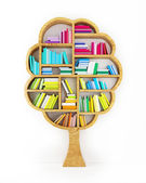 Tree of Knowledge, Wooden Shelf with Multicolor Books Isolated on White Background — Stock Photo