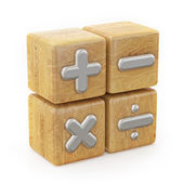 Wooden Cube, Math Operations Signs — Stock Photo