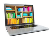 Laptop Computer Bookcase with Multicolor e-books isolated on White Background. E-learning education or internet library — Stock Photo