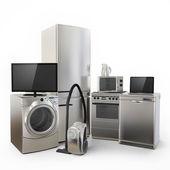 Consumidor electrónica tv nevera aspiradora microondas lavadora y cocina eléctrica — Foto de Stock