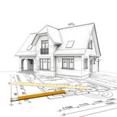 House project wireframe — Stock Photo