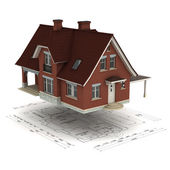 House and plan — Stock Photo