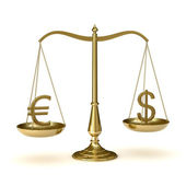 Scales euro dollar — Stock Photo