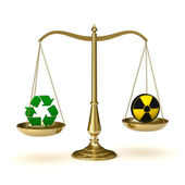 Scales recycling and nuclear power — Stock Photo