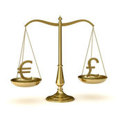 Scales with euro and pound symbols — Stock Photo