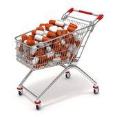 Nákupní vozík s prášky — Stock fotografie