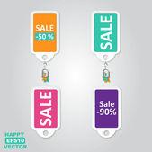 Vettore etichette adesivi con i messaggi di vendita — Vettoriale Stock