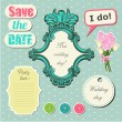 Wedding scrapbook set - Stock Vector