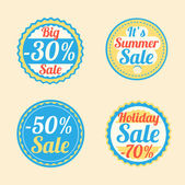 Summer stickers with sale messages — Stock Vector
