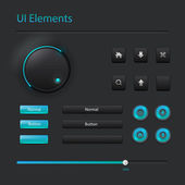 User interface elements: Buttons, Switchers, On, Off, Player, Audio, Video — Stock Vector