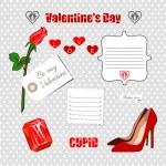 Valentines Day scrapbook set — Stock Vector