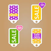 Stickers with sale messages — Stock Vector