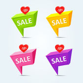 Pins with sale messages — Stock Vector