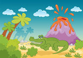 Cartoon green aligator — Stock Vector