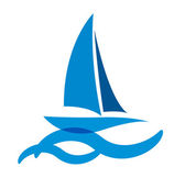 Blue Yacht Icon — Stock Vector