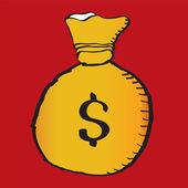 Worek pieniędzy na białym tle — Wektor stockowy