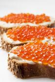 Sandwich with caviar — Stock Photo
