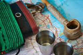Still Life with world map — Stock Photo
