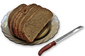 Slices of bread and knife. — Stock Photo