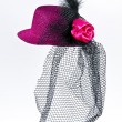 Vintage lady's hat with a black veil isolated — Stock Photo