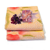 Handmade soap and towels. — Stock Photo
