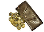 Peníze a peněženka — Stock fotografie