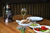 Wine glass and lamp — Foto de Stock