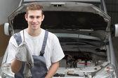 Portrait of happy mechanic — Foto de Stock