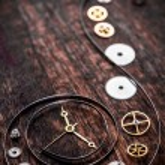 Various clock parts — Stock Photo