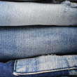 Stock Photo: Stack of jeans