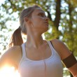 Young woman working out in the park  — Stock Photo