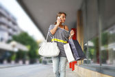 Beautiful young woman with shopping bags — Stock Photo