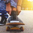 Woman with the skateboard — Stock Photo #37377319