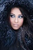 Woman in a snowy furry hood — Stock Photo